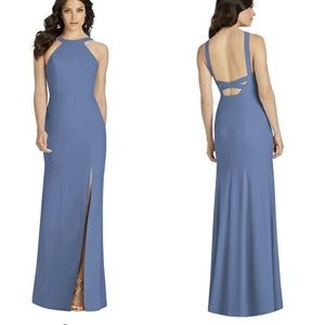 DESSY COLLECTION High-Neck Backless Trumpet Gown